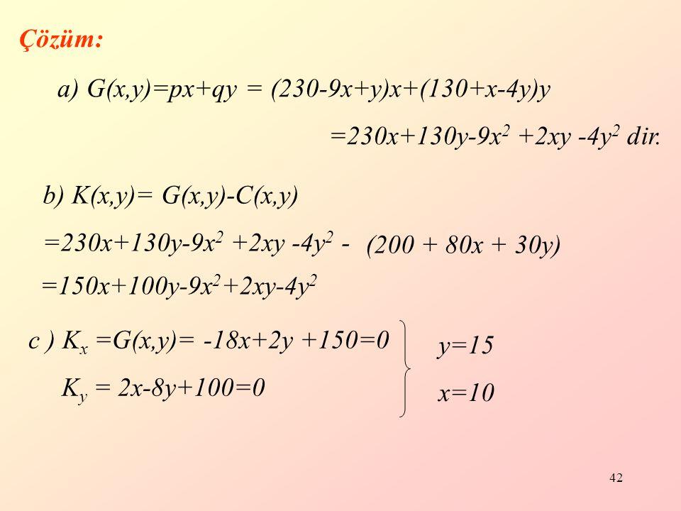 42 Çözüm: a) G(x,y)=px+qy = (230-9x+y)x+(130+x-4y)y =230x+130y-9x 2 +2xy -4y 2 dir.