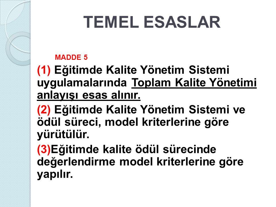TEMEL ESASLAR MADDE 5 (1) Eğitimde Kalite Yönetim Sistemi uygulamalarında Toplam Kalite Yönetimi anlayışı esas alınır. (2) Eğitimde Kalite Yönetim Sis
