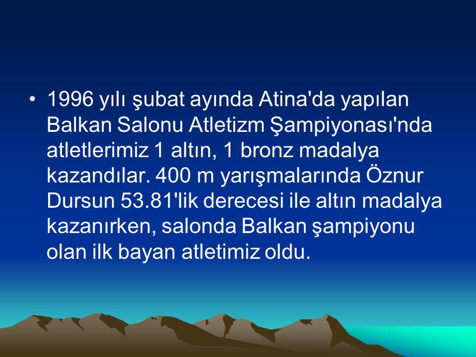 1996 yılı şubat ayında Atina'da yapılan Balkan Salonu Atletizm Şampiyonası'nda atletlerimiz 1 altın, 1 bronz madalya kazandılar. 400 m yarışmalarında