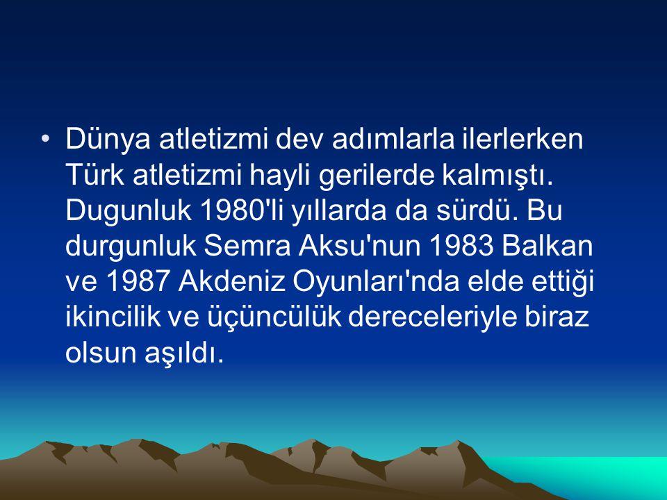 Dünya atletizmi dev adımlarla ilerlerken Türk atletizmi hayli gerilerde kalmıştı. Dugunluk 1980'li yıllarda da sürdü. Bu durgunluk Semra Aksu'nun 1983