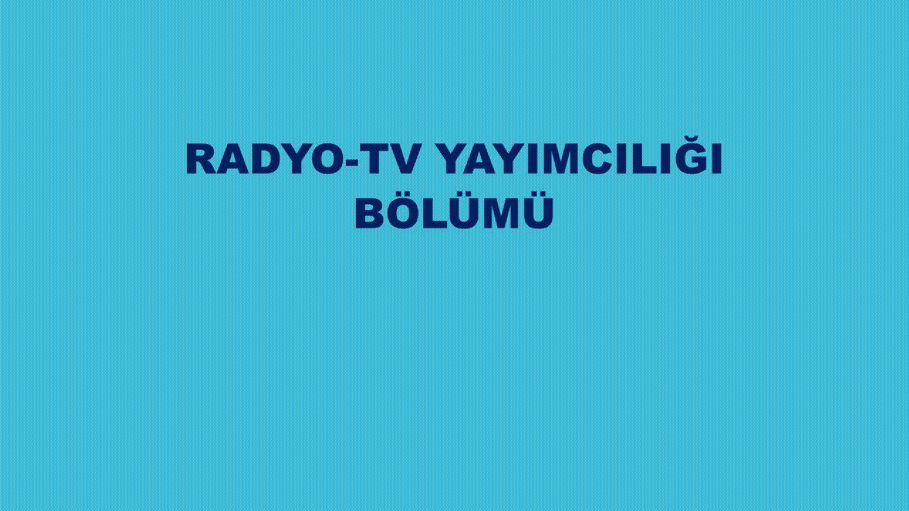 Radyo-TV Yayımcılığı programının amacı, radyo ve televizyon stüdyolarındaki aygıtları (ses ve görüntü sistemlerini) kullanacak insan gücünü yetiştirmektir.