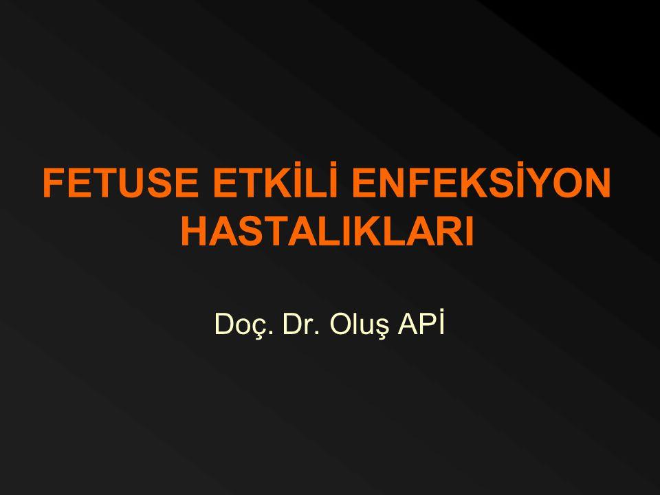 FETUSE ETKİLİ ENFEKSİYON HASTALIKLARI Doç. Dr. Oluş APİ
