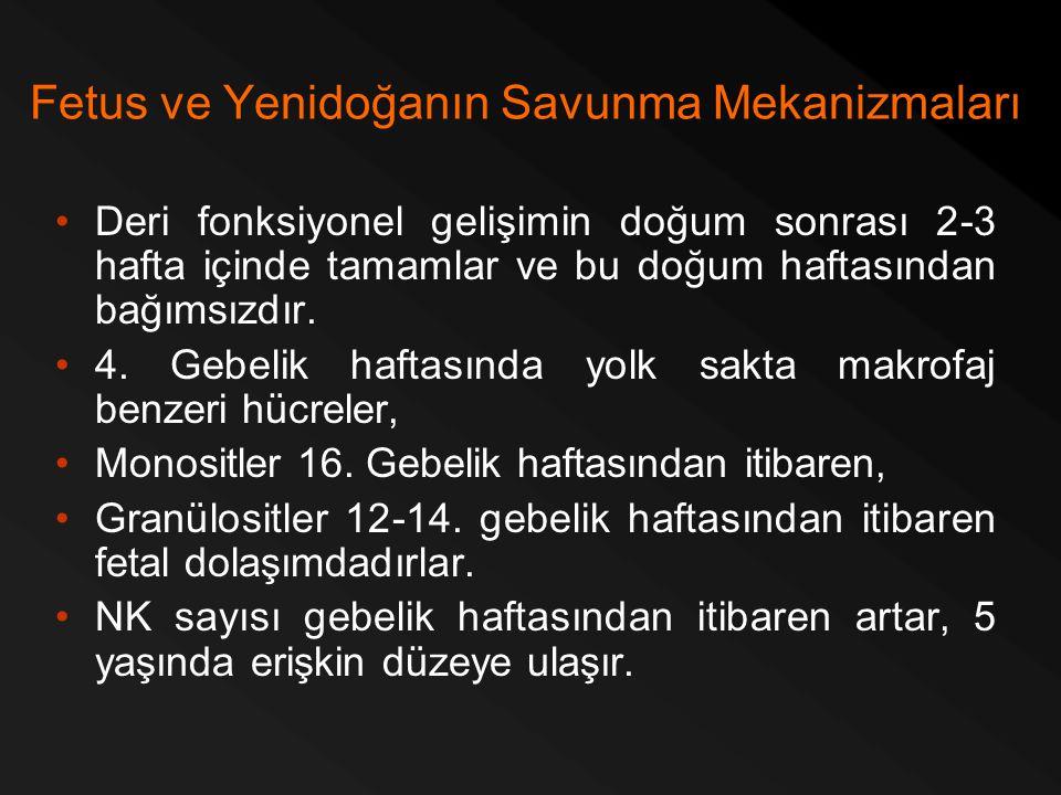 Fetus ve Yenidoğanın Savunma Mekanizmaları Deri fonksiyonel gelişimin doğum sonrası 2-3 hafta içinde tamamlar ve bu doğum haftasından bağımsızdır. 4.