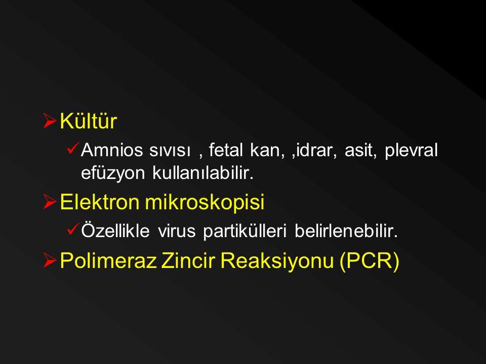  Kültür Amnios sıvısı, fetal kan,,idrar, asit, plevral efüzyon kullanılabilir.  Elektron mikroskopisi Özellikle virus partikülleri belirlenebilir. 