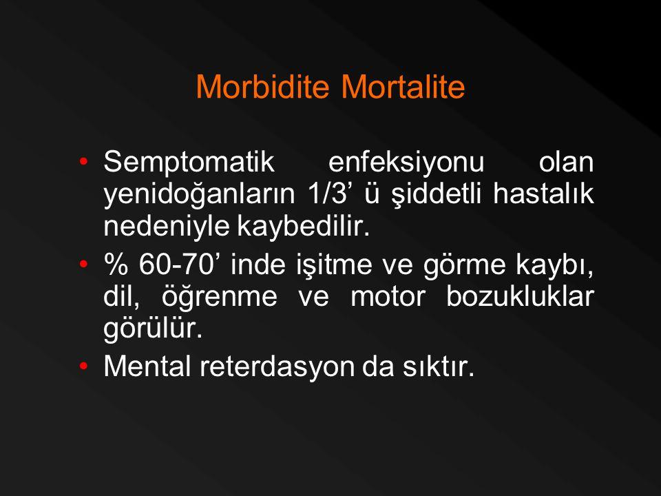 Morbidite Mortalite Semptomatik enfeksiyonu olan yenidoğanların 1/3' ü şiddetli hastalık nedeniyle kaybedilir. % 60-70' inde işitme ve görme kaybı, di