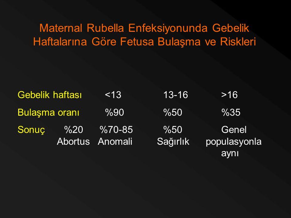 Maternal Rubella Enfeksiyonunda Gebelik Haftalarına Göre Fetusa Bulaşma ve Riskleri Gebelik haftası 16 Bulaşma oranı%90%50%35 Sonuç %20 %70-85%50Genel