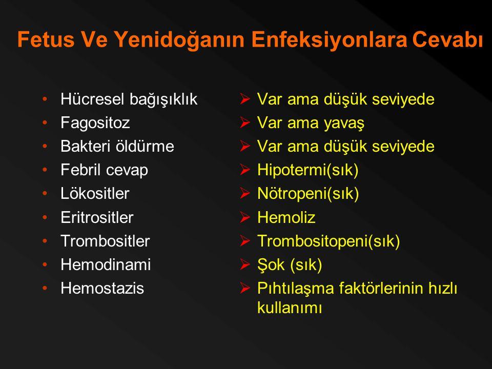 Fetus Ve Yenidoğanın Enfeksiyonlara Cevabı Hücresel bağışıklık Fagositoz Bakteri öldürme Febril cevap Lökositler Eritrositler Trombositler Hemodinami