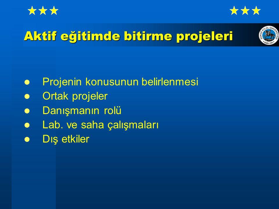 Aktif eğitimde bitirme projeleri Projenin konusunun belirlenmesi Ortak projeler Danışmanın rolü Lab.