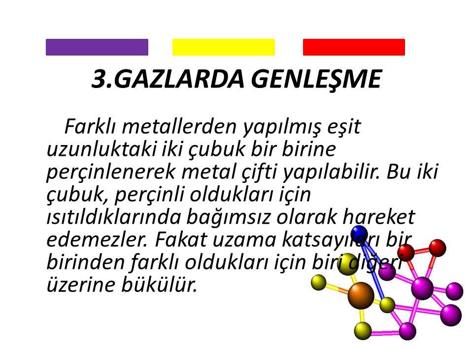 3.GAZLARDA GENLEŞME Farklı metallerden yapılmış eşit uzunluktaki iki çubuk bir birine perçinlenerek metal çifti yapılabilir. Bu iki çubuk, perçinli ol