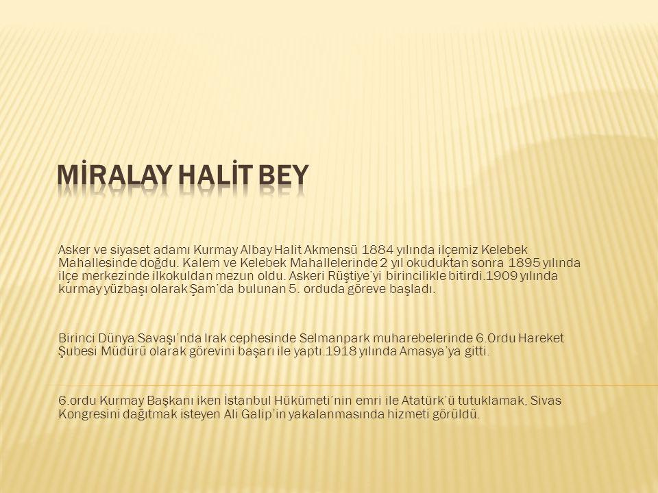 Asker ve siyaset adamı Kurmay Albay Halit Akmensü 1884 yılında ilçemiz Kelebek Mahallesinde doğdu. Kalem ve Kelebek Mahallelerinde 2 yıl okuduktan son