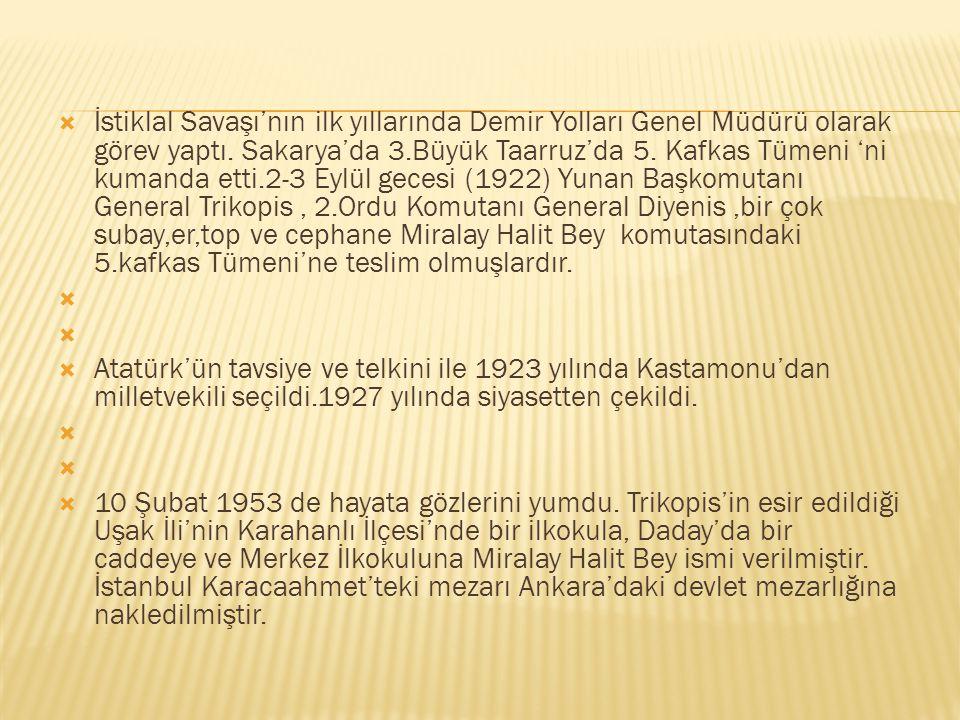  İstiklal Savaşı'nın ilk yıllarında Demir Yolları Genel Müdürü olarak görev yaptı. Sakarya'da 3.Büyük Taarruz'da 5. Kafkas Tümeni 'ni kumanda etti.2-