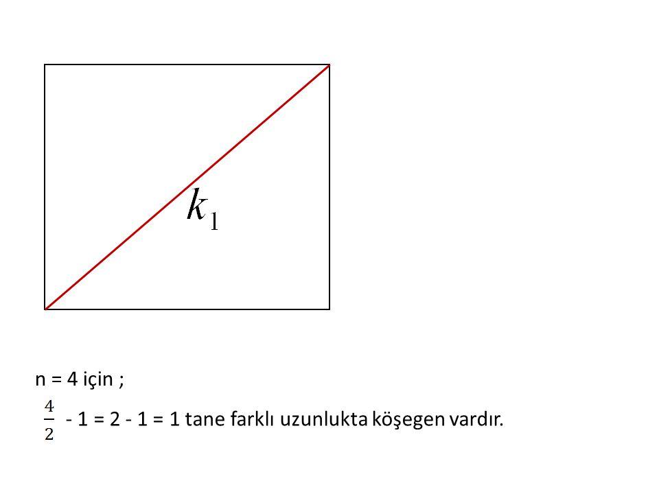n = 4 için ; - 1 = 2 - 1 = 1 tane farklı uzunlukta köşegen vardır.