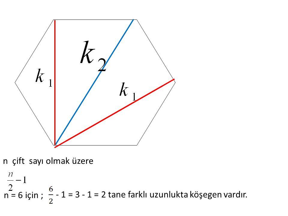 n çift sayı olmak üzere n = 6 için ; - 1 = 3 - 1 = 2 tane farklı uzunlukta köşegen vardır.