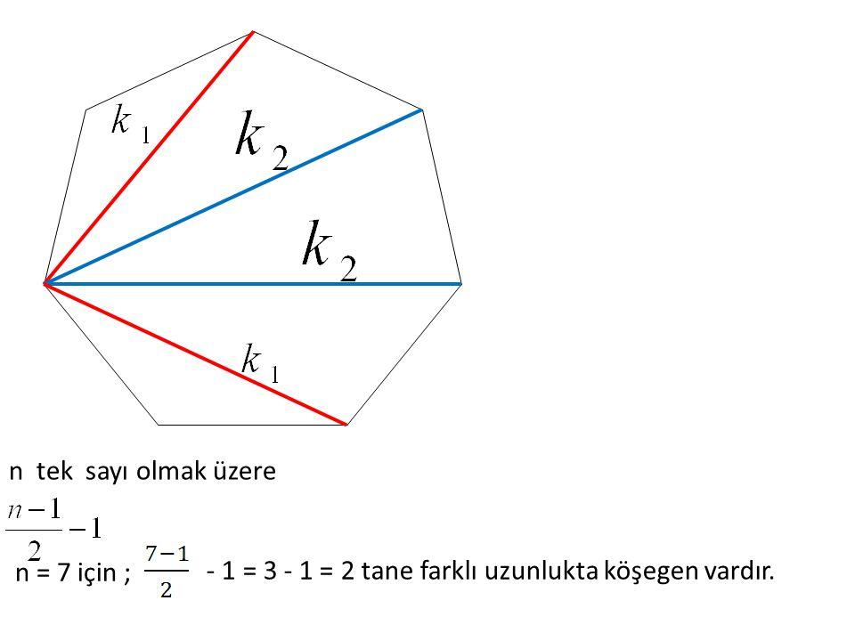 n tek sayı olmak üzere n = 7 için ; - 1 = 3 - 1 = 2 tane farklı uzunlukta köşegen vardır.