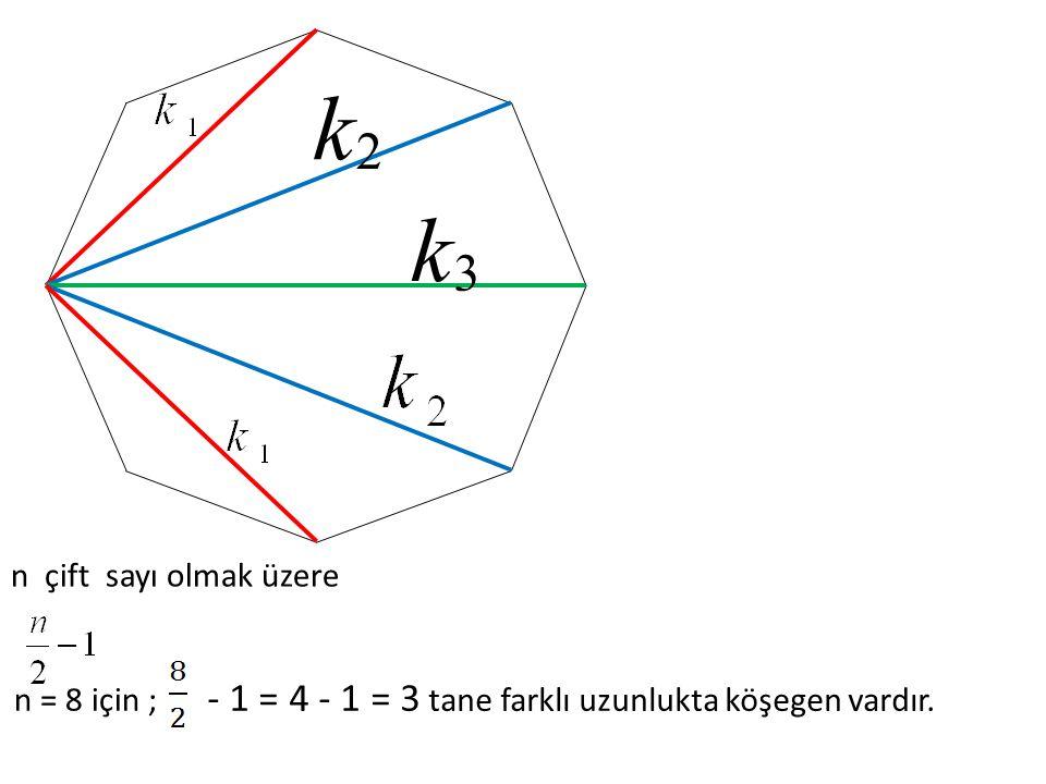 2 k 3 k n çift sayı olmak üzere n = 8 için ; - 1 = 4 - 1 = 3 tane farklı uzunlukta köşegen vardır.