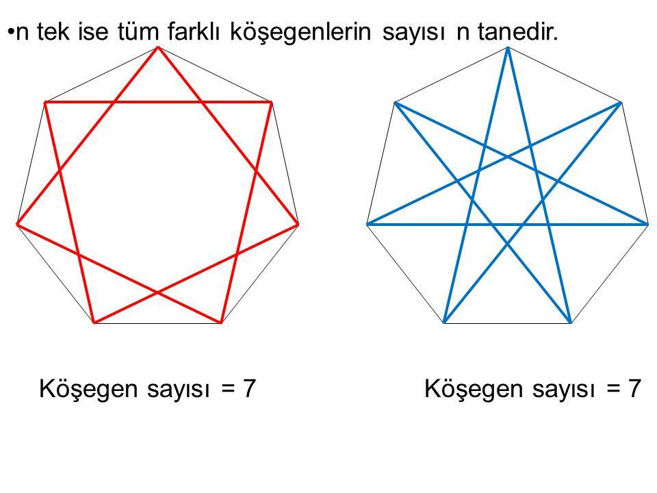 Köşegen sayısı = 7 n tek ise tüm farklı köşegenlerin sayısı n tanedir.