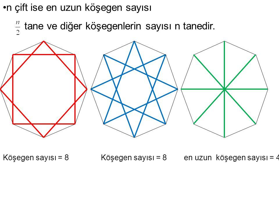 Köşegen sayısı = 8 Köşegen sayısı = 8 en uzun köşegen sayısı = 4 n çift ise en uzun köşegen sayısı tane ve diğer köşegenlerin sayısı n tanedir.