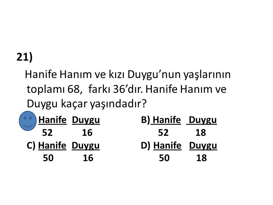 21) Hanife Hanım ve kızı Duygu'nun yaşlarının toplamı 68, farkı 36'dır. Hanife Hanım ve Duygu kaçar yaşındadır? A) Hanife Duygu B) Hanife Duygu. 52 16