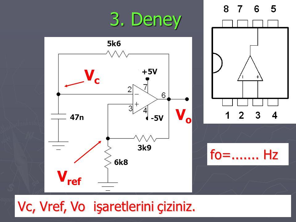 3. Deney Vc, Vref, Vo işaretlerini çiziniz. VcVc V ref VoVo fo=....... Hz 3k9 6k8 5k6 47n +5V -5V