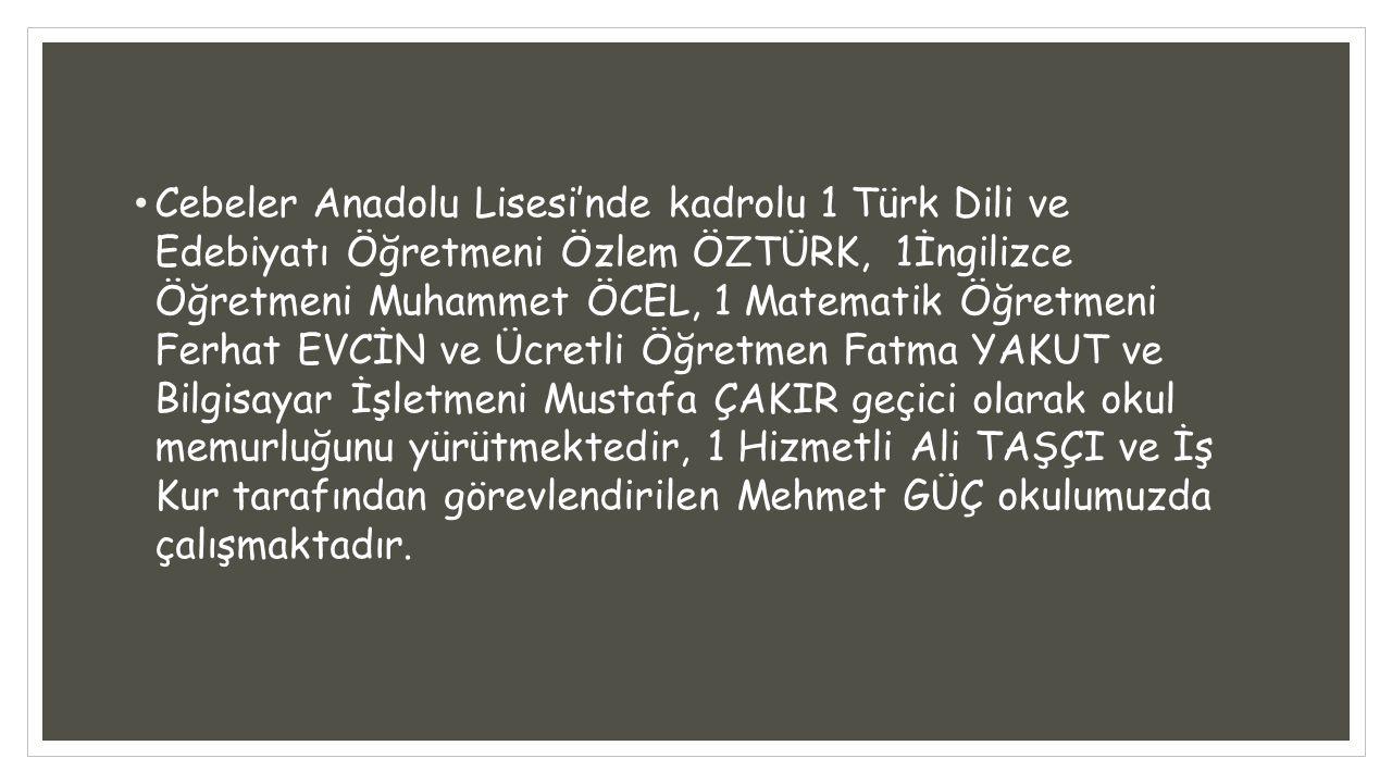 Cebeler Anadolu Lisesi'nde kadrolu 1 Türk Dili ve Edebiyatı Öğretmeni Özlem ÖZTÜRK, 1İngilizce Öğretmeni Muhammet ÖCEL, 1 Matematik Öğretmeni Ferhat E