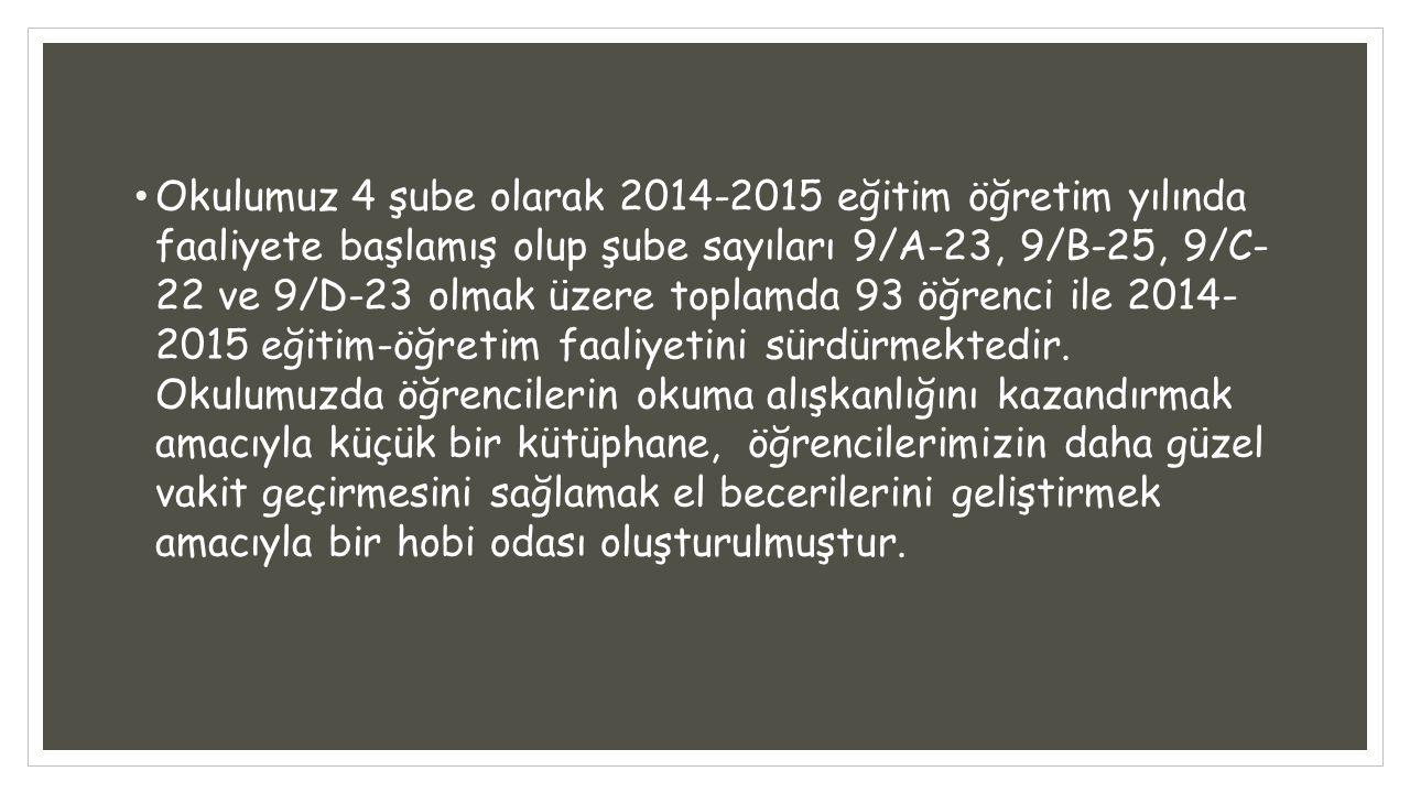 Okulumuz 4 şube olarak 2014-2015 eğitim öğretim yılında faaliyete başlamış olup şube sayıları 9/A-23, 9/B-25, 9/C- 22 ve 9/D-23 olmak üzere toplamda 9