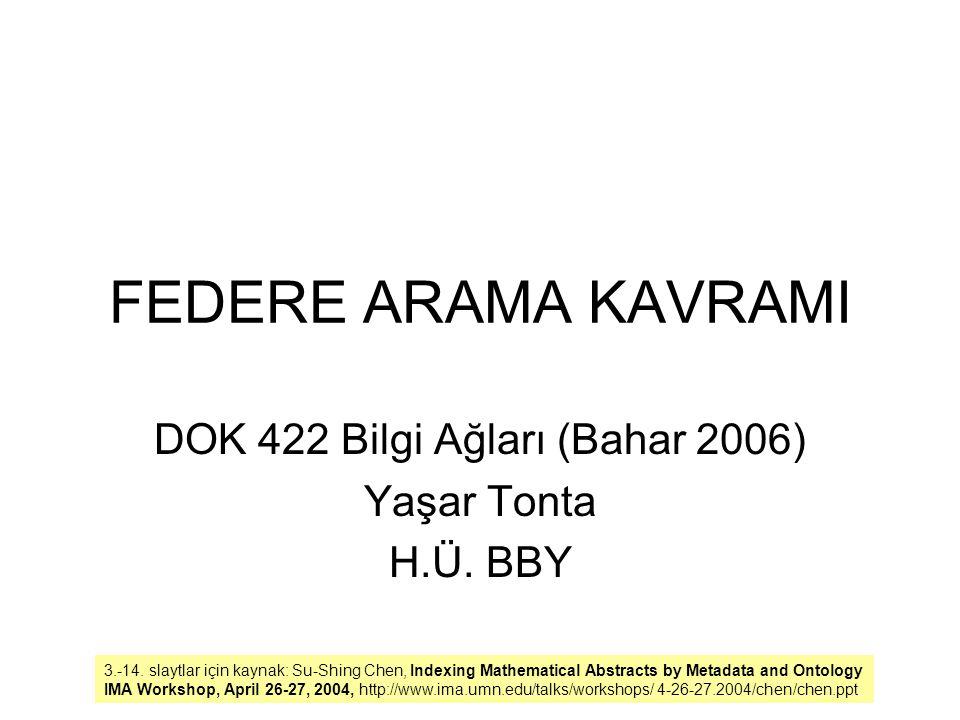 FEDERE ARAMA KAVRAMI DOK 422 Bilgi Ağları (Bahar 2006) Yaşar Tonta H.Ü. BBY 3.-14. slaytlar için kaynak: Su-Shing Chen, Indexing Mathematical Abstract