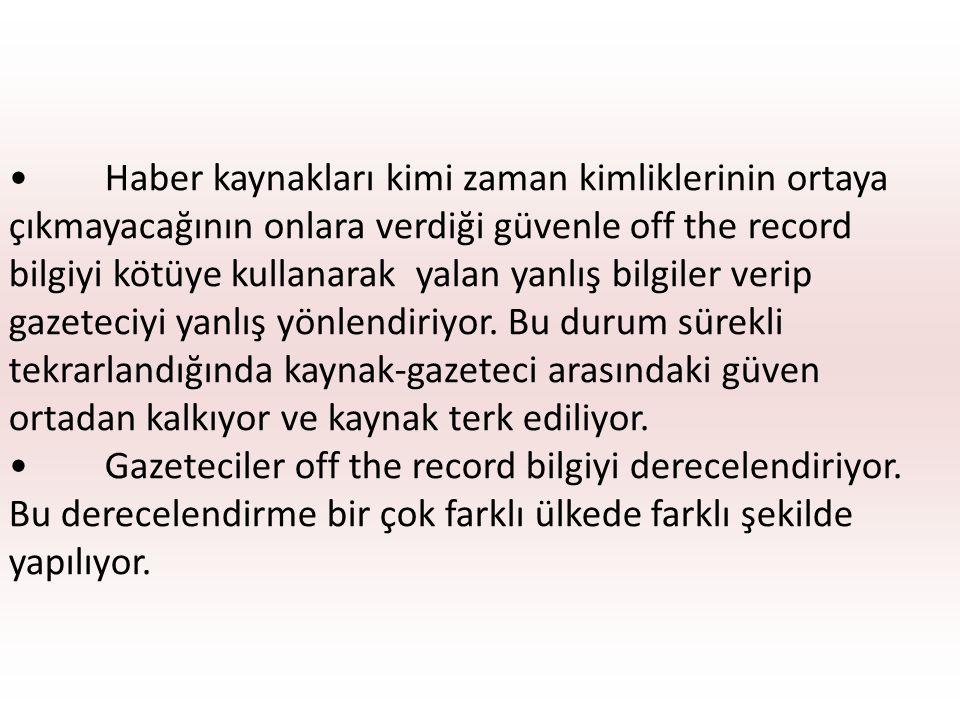 Türkiye ve Yunanistan'da sıralama şu şekilde yapılıyor; birinci derecede of the record bilgi şimdi kesinlikle bu bilgiyi kullanma olayı anlamak için yararlan, belki çok ileride kullanabilirsin.