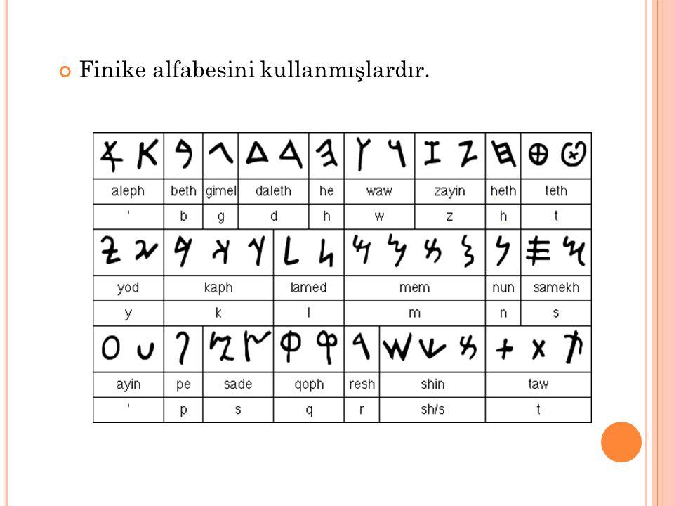 Finike alfabesini kullanmışlardır.