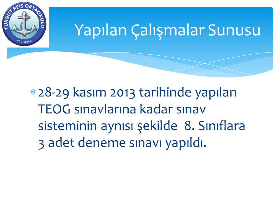  28-29 kasım 2013 tarihinde yapılan TEOG sınavlarına kadar sınav sisteminin aynısı şekilde 8. Sınıflara 3 adet deneme sınavı yapıldı. Yapılan Çalışma