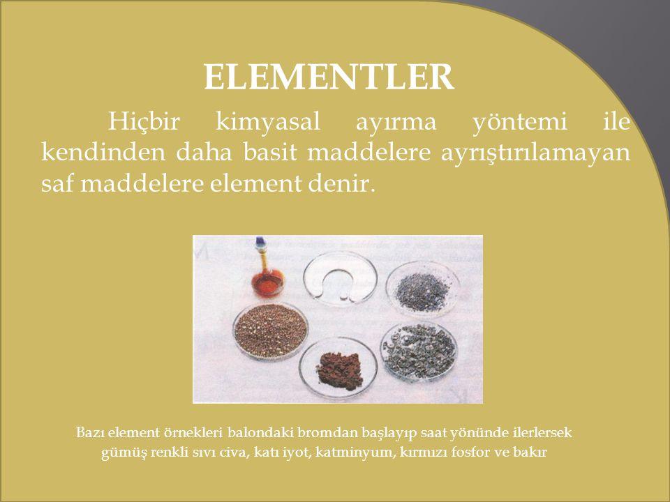ELEMENTLER Hiçbir kimyasal ayırma yöntemi ile kendinden daha basit maddelere ayrıştırılamayan saf maddelere element denir. Bazı element örnekleri balo