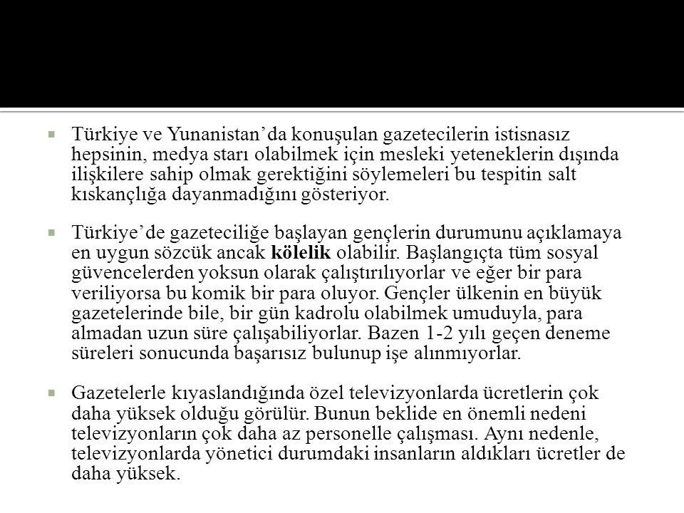  Türkiye ve Yunanistan'da konuşulan gazetecilerin istisnasız hepsinin, medya starı olabilmek için mesleki yeteneklerin dışında ilişkilere sahip olmak