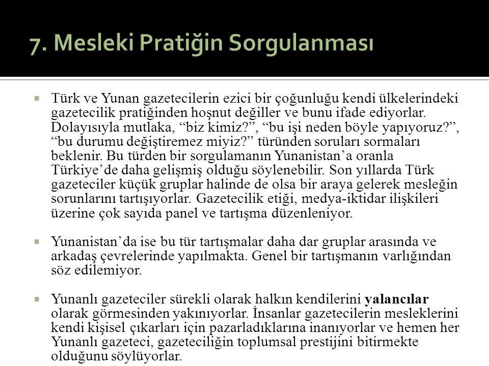  Türk ve Yunan gazetecilerin ezici bir çoğunluğu kendi ülkelerindeki gazetecilik pratiğinden hoşnut değiller ve bunu ifade ediyorlar. Dolayısıyla mut