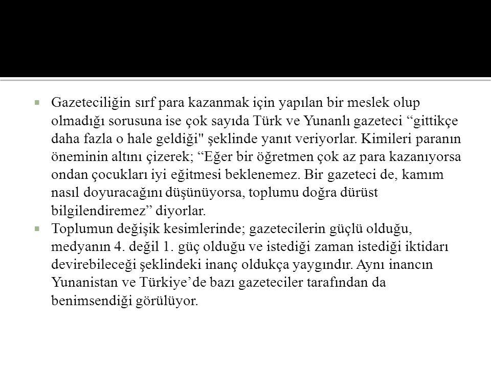 """ Gazeteciliğin sırf para kazanmak için yapılan bir meslek olup olmadığı sorusuna ise çok sayıda Türk ve Yunanlı gazeteci """"gittikçe daha fazla o hale"""