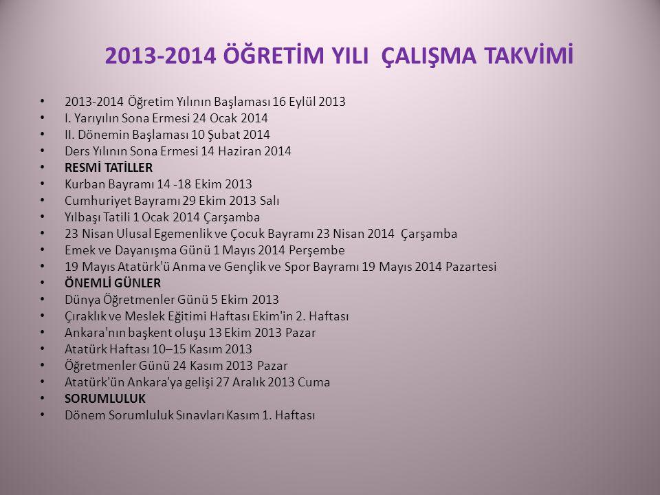 2013-2014 Öğretim Yılının Başlaması 16 Eylül 2013 I.
