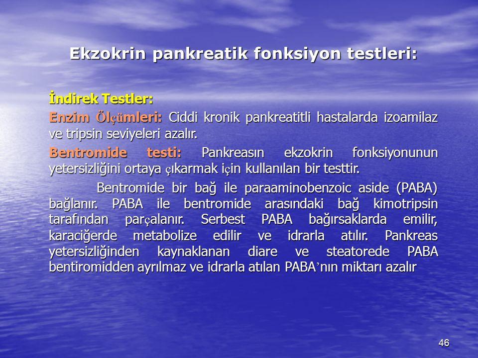 46 Ekzokrin pankreatik fonksiyon testleri: İndirek Testler: Enzim Ö l çü mleri: Ciddi kronik pankreatitli hastalarda izoamilaz ve tripsin seviyeleri a