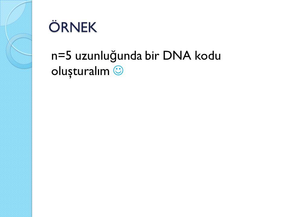 ÖRNEK n=5 uzunlu ğ unda bir DNA kodu oluşturalım