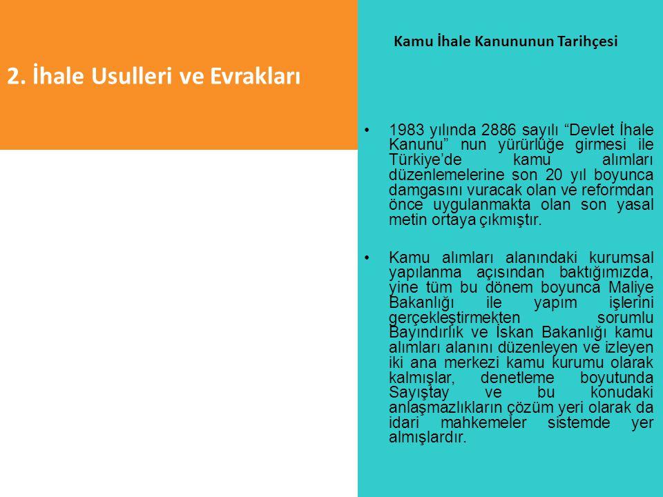 """2. İhale Usulleri ve Evrakları Kamu İhale Kanununun Tarihçesi 1983 yılında 2886 sayılı """"Devlet İhale Kanunu"""" nun yürürlüğe girmesi ile Türkiye'de kamu"""