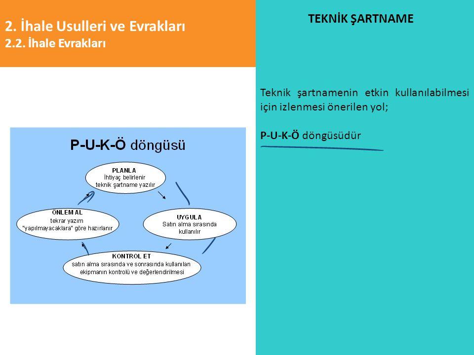 2. İhale Usulleri ve Evrakları 2.2. İhale Evrakları TEKNİK ŞARTNAME Teknik şartnamenin etkin kullanılabilmesi için izlenmesi önerilen yol; P-U-K-Ö dön