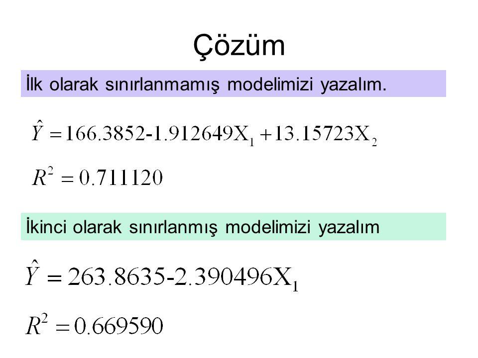 Çözüm İlk olarak sınırlanmamış modelimizi yazalım. İkinci olarak sınırlanmış modelimizi yazalım