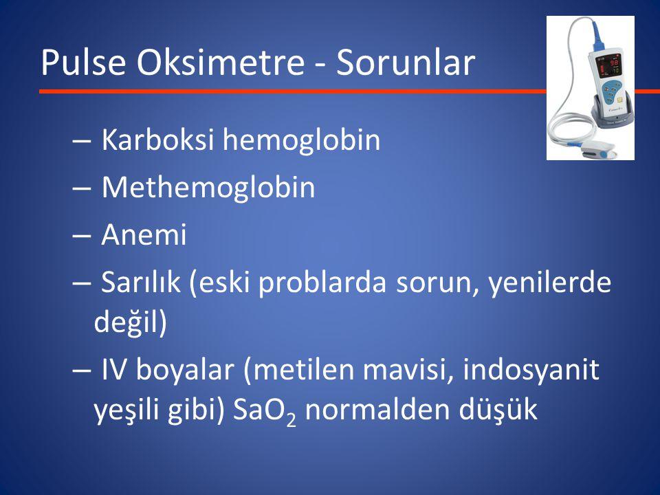 Pulse Oksimetre - Sorunlar – Karboksi hemoglobin – Methemoglobin – Anemi – Sarılık (eski problarda sorun, yenilerde değil) – IV boyalar (metilen mavisi, indosyanit yeşili gibi) SaO 2 normalden düşük