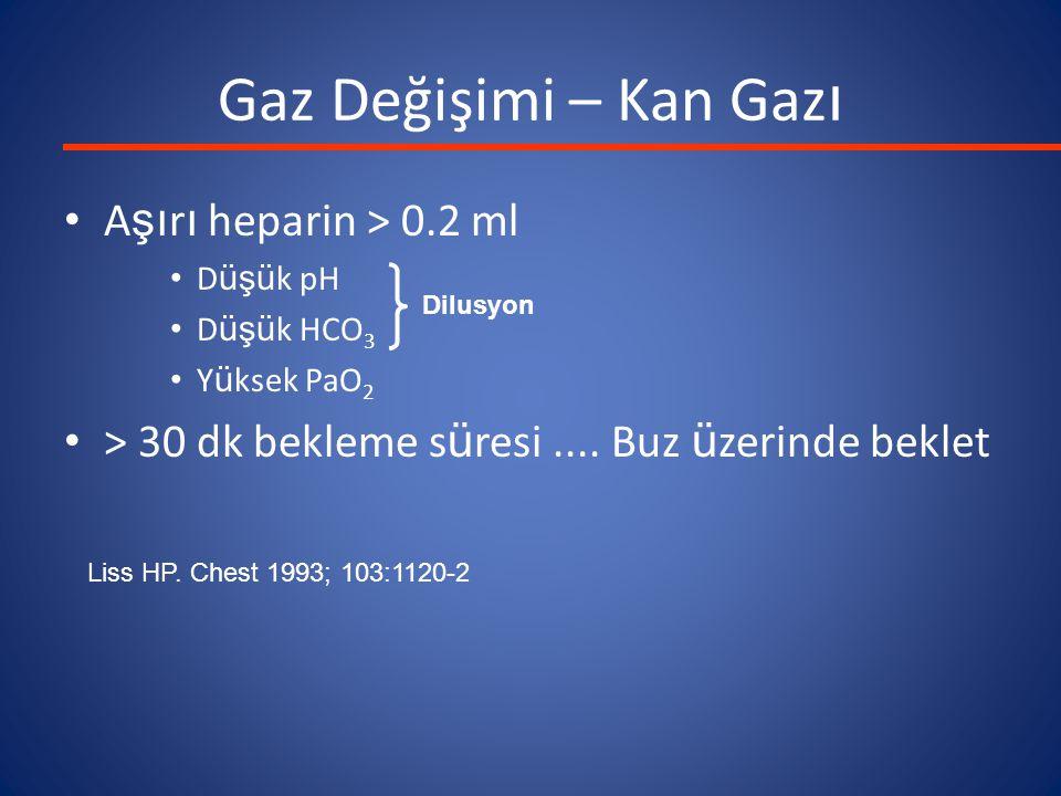 Gaz Değişimi – Kan Gaz ı A şı r ı heparin > 0.2 ml D üşü k pH D üşü k HCO 3 Y ü ksek PaO 2 > 30 dk bekleme s ü resi....