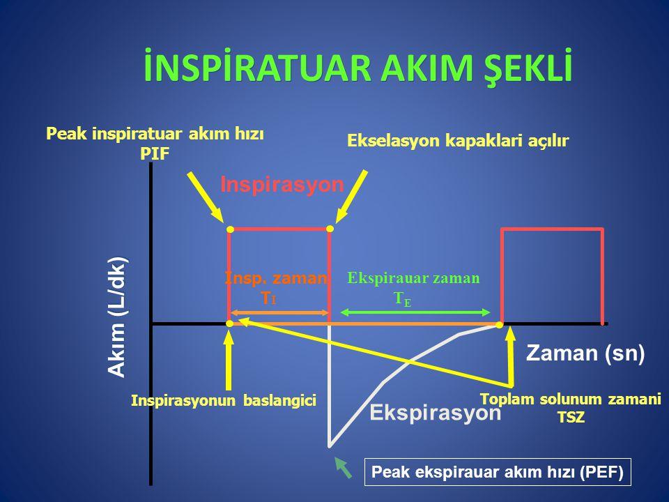 İNSPİRATUAR AKIM ŞEKLİ Inspirasyon Ekspirasyon Zaman (sn) Akım (L/dk) Inspirasyonun baslangici Peak inspiratuar akım hızı PIF Ekselasyon kapaklari açı