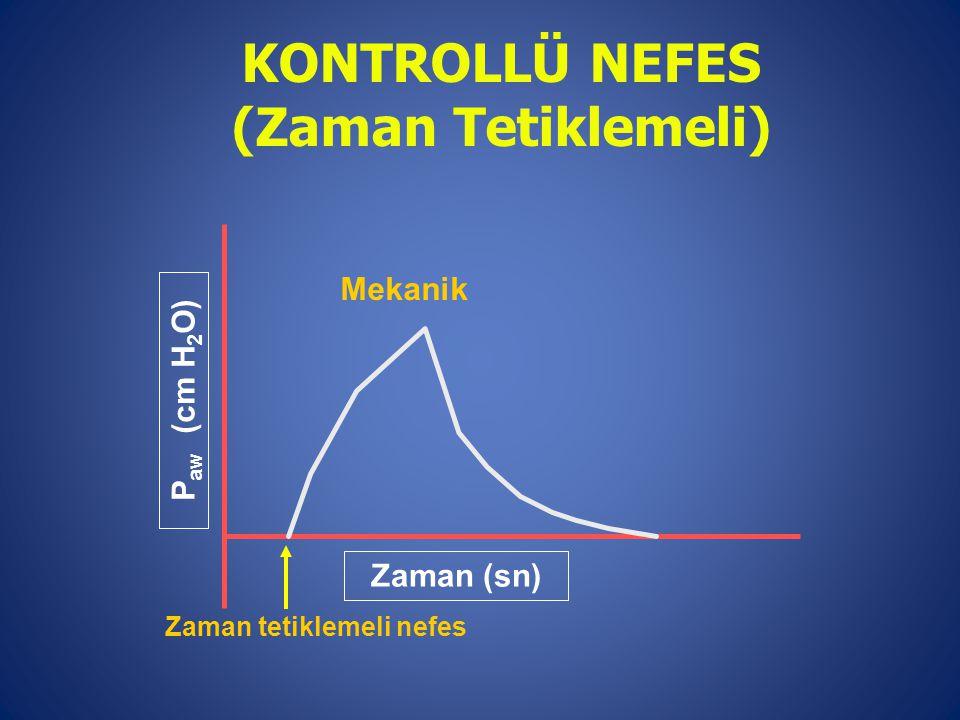 Mekanik Zaman (sn) P aw (cm H 2 O) Zaman tetiklemeli nefes KONTROLLÜ NEFES (Zaman Tetiklemeli)