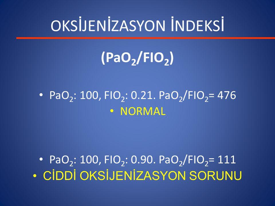 OKS İ JEN İ ZASYON İ NDEKS İ (PaO 2 /FIO 2 ) PaO 2 : 100, FIO 2 : 0.21. PaO 2 /FIO 2 = 476 NORMAL PaO 2 : 100, FIO 2 : 0.90. PaO 2 /FIO 2 = 111 CİDDİ