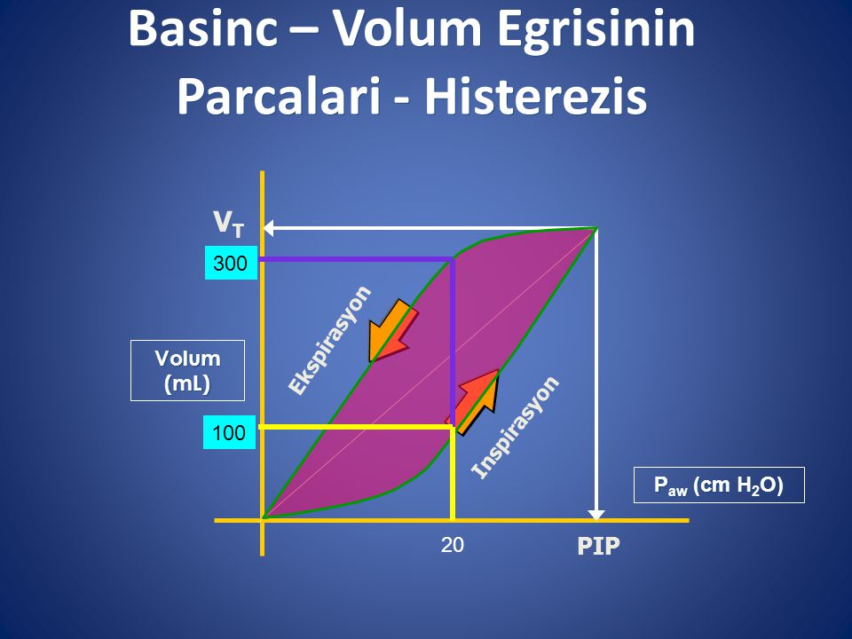 Basinc – Volum Egrisinin Parcalari - Histerezis Volum (mL) Inspirasyon Ekspirasyon PIP VTVT P aw (cm H 2 O) 20 100 300