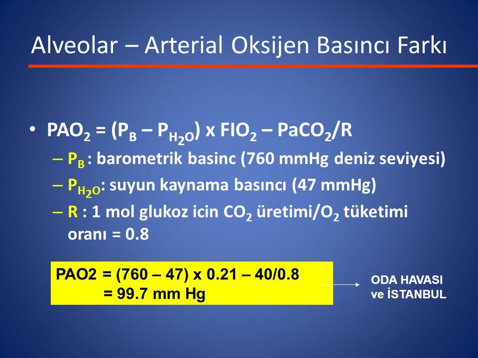 PAO 2 = (P B – P H 2 O ) x FIO 2 – PaCO 2 /R – P B : barometrik basinc (760 mmHg deniz seviyesi) – P H 2 O : suyun kaynama basıncı (47 mmHg) – R : 1 m