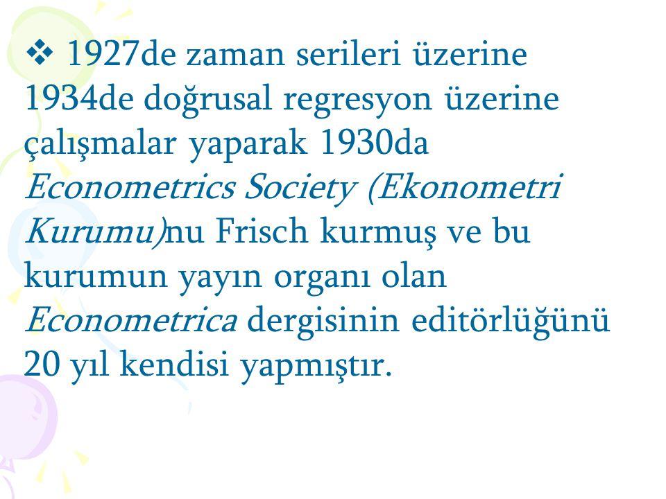  1926da tüketim teorisini yeni-Walrasiyen matematik baza Frisch koymuştur.  1965de üretim teorisini formalize etmiştir.  Makroekonomi teriminin adı