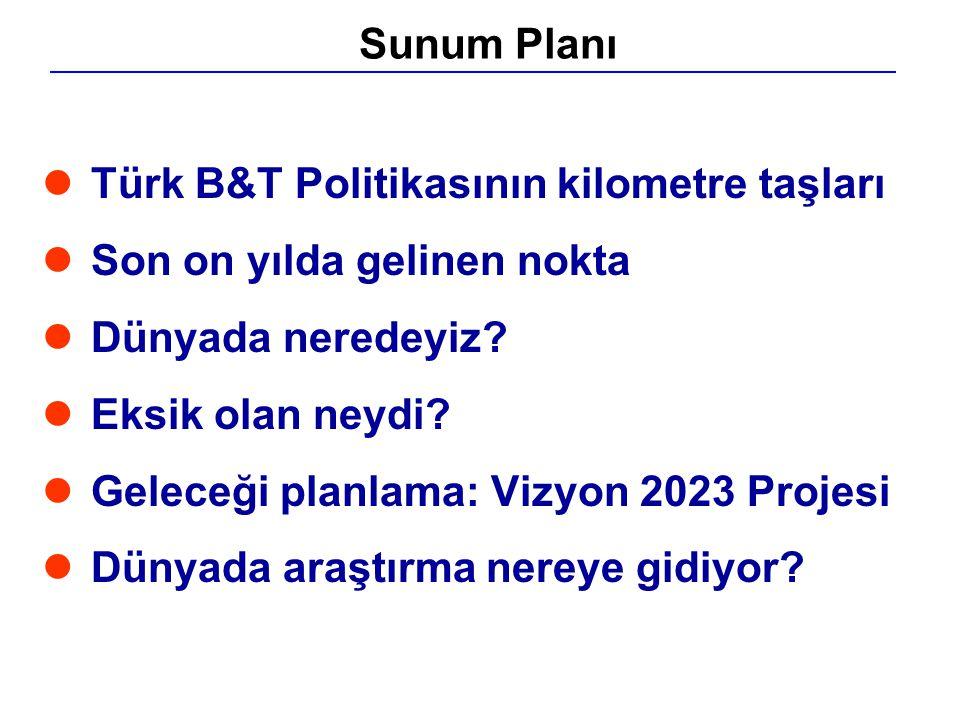 lTürk B&T Politikasının kilometre taşları lSon on yılda gelinen nokta lDünyada neredeyiz? lEksik olan neydi? lGeleceği planlama: Vizyon 2023 Projesi l