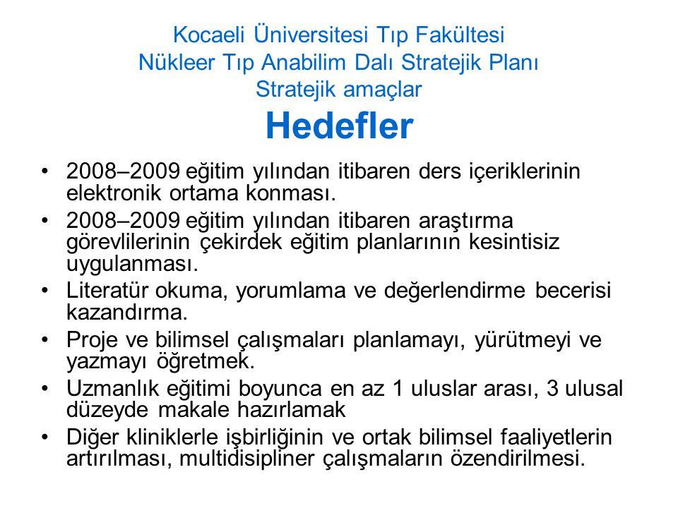 Kocaeli Üniversitesi Tıp Fakültesi Nükleer Tıp Anabilim Dalı Stratejik Planı Stratejik amaçlar Hedefler 2008–2009 eğitim yılından itibaren ders içeriklerinin elektronik ortama konması.