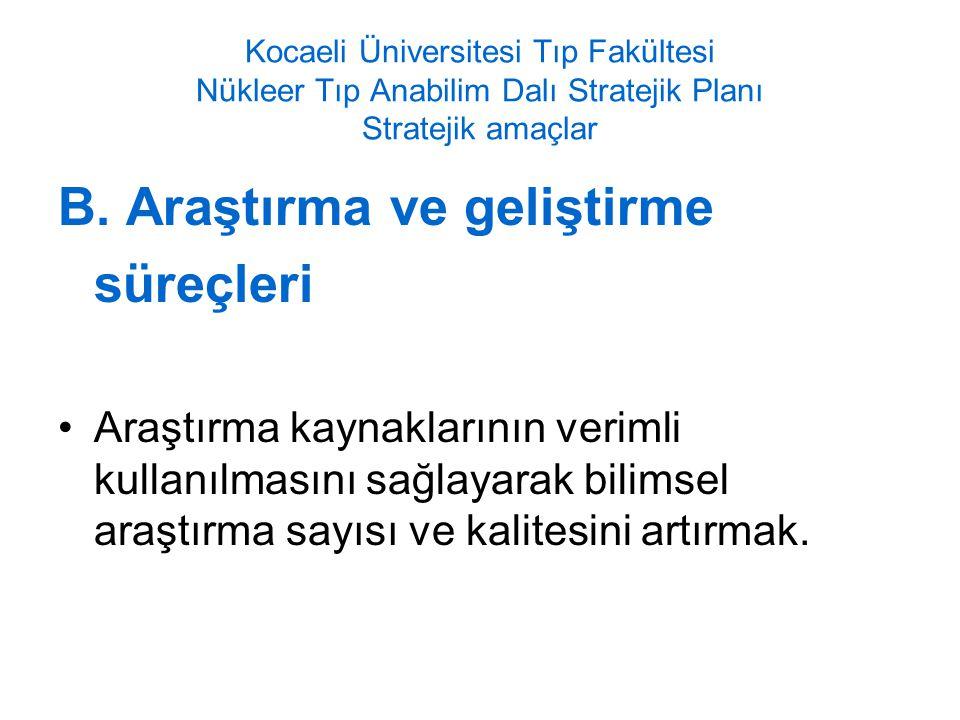 Kocaeli Üniversitesi Tıp Fakültesi Nükleer Tıp Anabilim Dalı Stratejik Planı Stratejik amaçlar B.